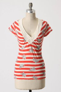Anthropologie Stripe Floral Red V-neck T Shirt