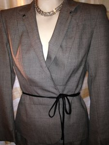J' Envie 2pc Career grey w/ leather wrap suit