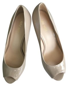 Nine West Peeptoe Patent Leather Nude Pumps