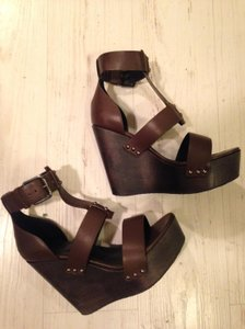 AllSaints 100% Cow Leather Olive Wedges