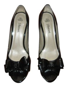 J. Renee Leather Patent Leather Open Toe 3 Black Patent Pumps