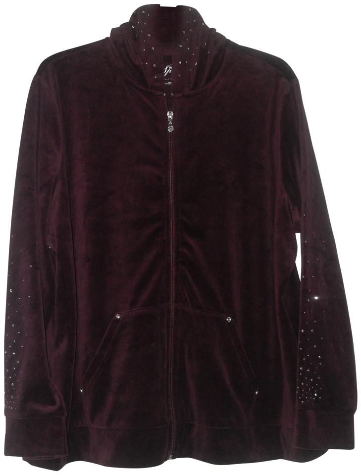16b5fffae36 Style   Co Merlot Sport Verlour Embellished Jacket with Hoodie 1x ...