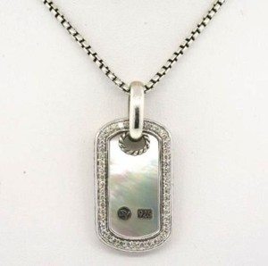 David Yurman David Yurman Sterling Silver Mother of Pearl Dog Tag with Pave Diamonds