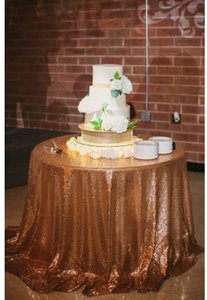 2 Gold Sequin Tablecloths