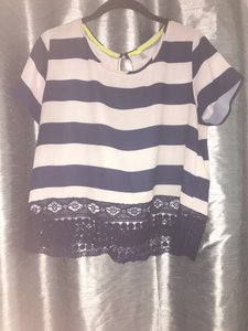Xhilaration Stripes Lace Trim Top Navy Blue and White