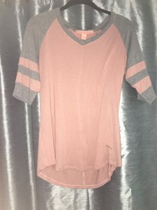 Rebellious One Casual Soft Stripes T Shirt Light Pink and Grey
