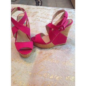 BCBGeneration Pink and Cork Wedges