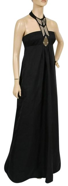 Item - Black New Chrome Embellished Empire Waist Gown Long Formal Dress Size 6 (S)