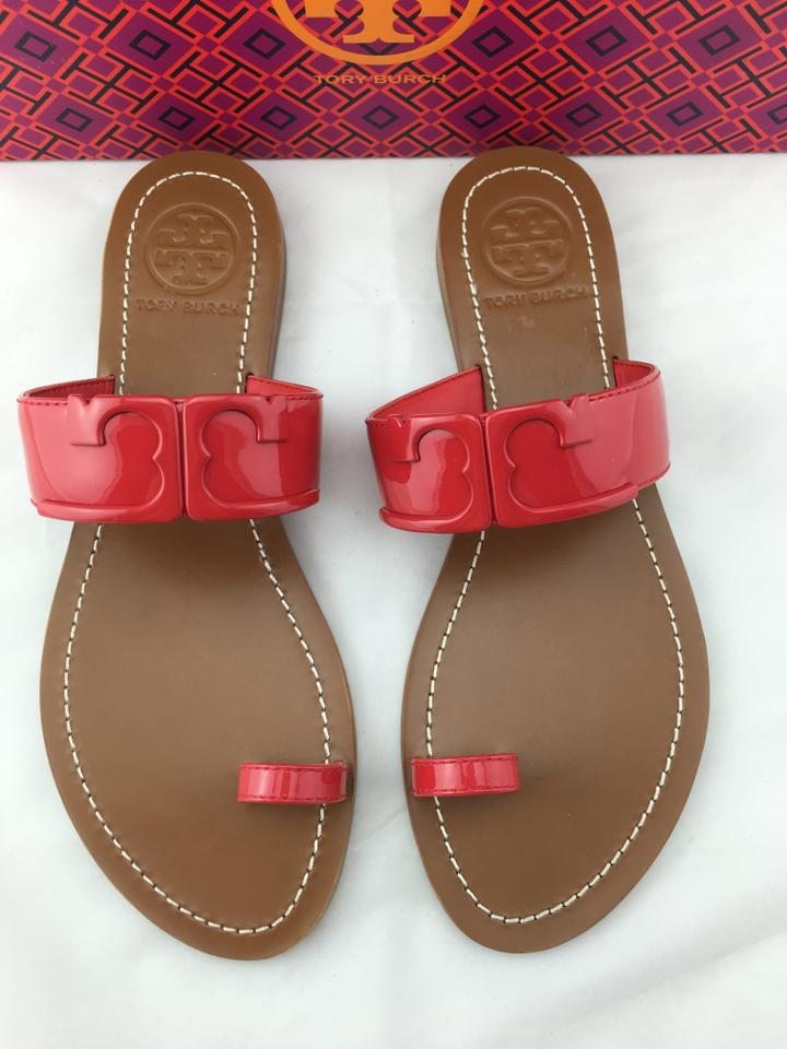 6b8a521e7db Tory Burch Marcia Patent Leather Toe Ring Slides Red Sandals Image 0 ...