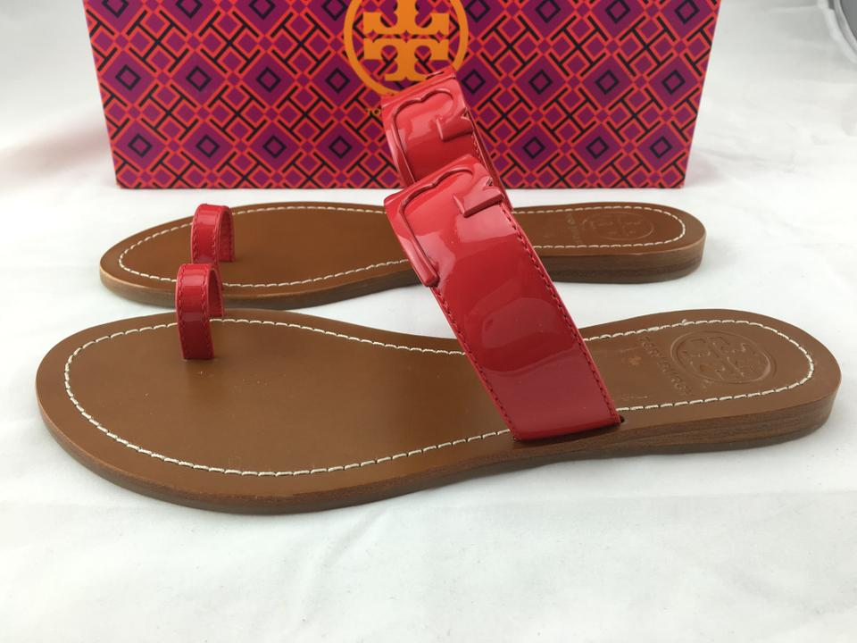 8e8d797cd9c Tory Burch Marcia Patent Leather Toe Ring Slides Red Sandals Image 8.  123456789