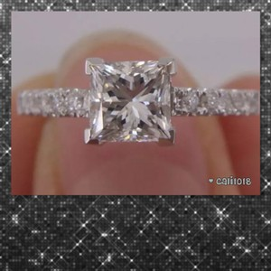 New Princess Cut White Sapphire 925 Silver Ring