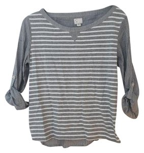 Anthropologie Casual Adjustable Sleeve T Shirt Grey