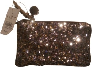 Ann Taylor LOFT Sequined Metalic Glam Gold Clutch