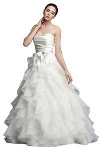 Paloma Blanca Diamond White Satin Organza 4116 Formal Wedding Dress Size 2 (XS)