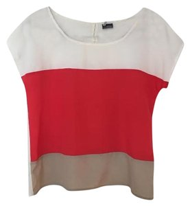 Sparkle & Fade Beige Red Color-blocking Top White