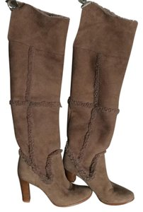 Ann Taylor Shearling Over The Knee Mocha tan Boots
