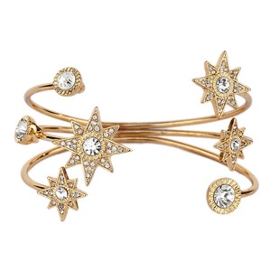 Mariell Celestial Stars Bridal Or Prom Crystal Cuff Bracelet In Gold 4346b-g