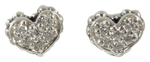 Lagos Lagos Sterling Silver .24tcw Mini Diamond Caviar Heart Stud Earrings