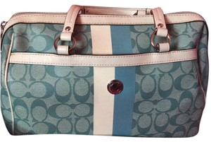 Coach Satchel in Blue/ White