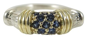 Lagos Lagos Sterling Silver 18K Yellow Gold Blue Sapphire Stack Ring