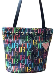Dooney & Bourke Print Bright Vintage Leather Tote in Black Multi