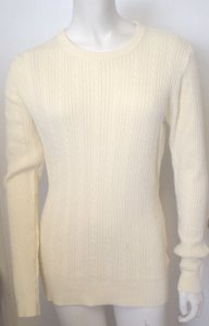 Basic Editions Crew Neck Cable Knit Pale Canary Medium Sweater