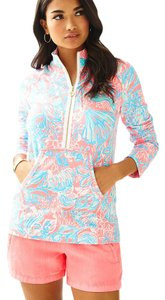 Lilly Pulitzer Quarter Zip Popover Pink Ray Sun Jacket