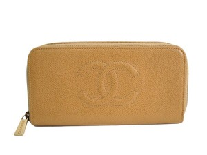 Chanel Chanel Nude Tan Leather CC Gold Envelope Clutch Wallet in Box