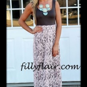 Burgandy and pink Maxi Dress by Fasination