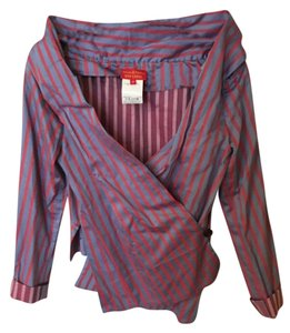 Vivienne Westwood Fitted Portrait Neckline Top purple and red stripe