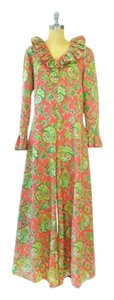 Other Vintage Red And Green Ruffles 1970s Floral Dress