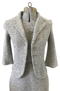 Isli Sequin Knit Jacket Silver Blazer
