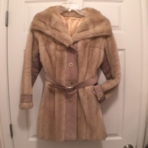 Tissavel of France Vintage Faux Fur Suede Jacket Fur Coat
