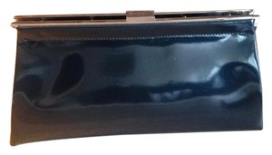 Jil Sander Patent Leather Chic Classic Silver Hardware Iridescent Iridescent black Clutch