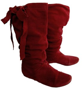 Leather Slouchy Italian Red Boots