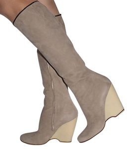 Giuseppe Zanotti Wedge Leather Suede nude Boots