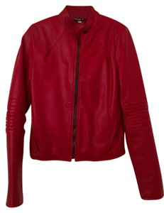 Leather William B Motorcycle Red Leather Jacket