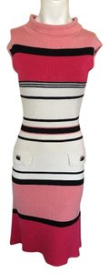 KAY UNGER Designer Dress Size Small S 2 4 6 Knit Career Striped White Pink Dress