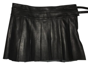 Joie Leather Pleated Mini Skirt Black
