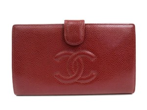 Chanel Chanel Red Caviar Leather CC Envelope Clutch Wallet in Box