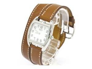 Herms Hermes Brown Leather Double Tour Stainless Steel Mid Size Watch in Box
