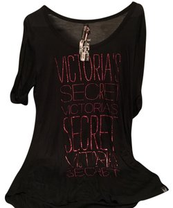Victoria's Secret Super Model T Shirt Black with pink glitter