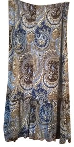 Wet Seal Gyspy Tiered Maxi Skirt brown blue paisley