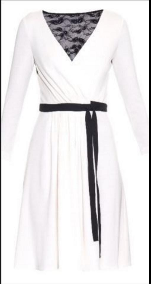 Diane Von Furstenberg White Black Seduction Wrap Knee Length