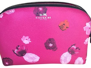 Coach NWOT Coach Raspberry Pink Floral Cosmetic Bag