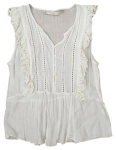 Zara Ruffle Peasant Sleeveless Top White