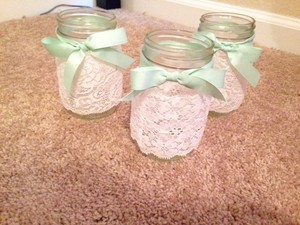 30 Mason Jars - Lace & Mint Green Ribbon