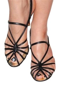 Chanel Strappy Leather Black Sandals