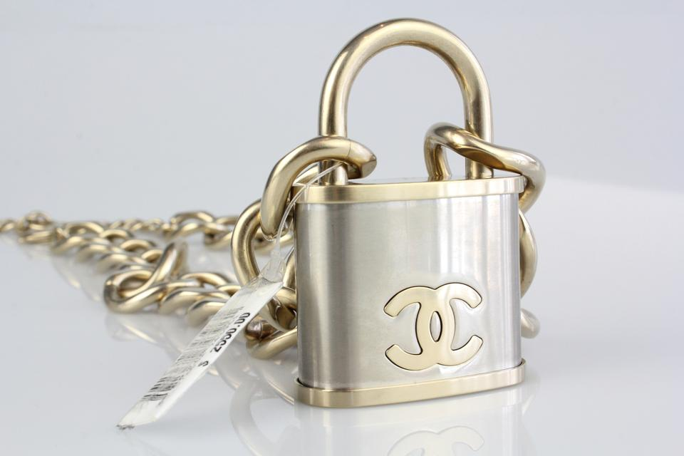 Chanel Silver Gold Padlock Lock Chunky Stainless Two Toned