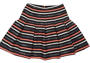 Anthropologie A-line Striped Formal Holiday Skirt Black, white and orange